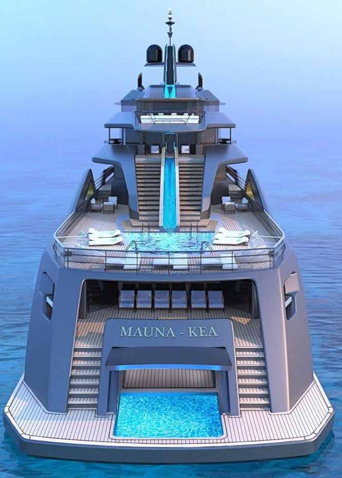 MAUNA KEA aft view. Superyacht concept by Roberto Curto