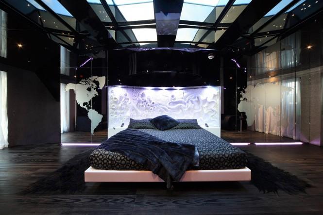 Mega yacht SEA FORCE ONE - Master suite. Photo credit Luca Dini Design