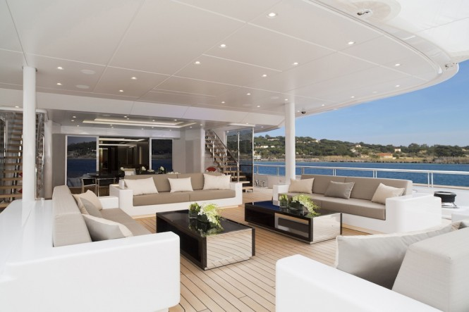 Motor yacht MOGAMBO - Main deck aft lounging and dining. Photo credit - Bruce Thomas