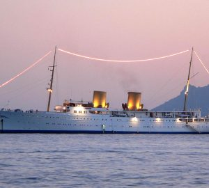 Classic motor yacht Savarona in the Mediterranean