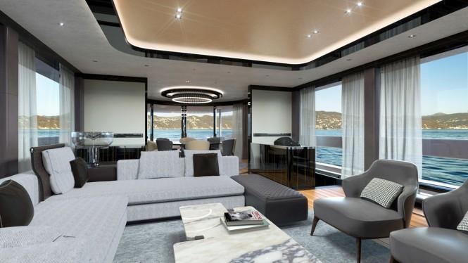 Superyacht GTT 115 - Main salon rendering. Photo credit Dynamiq