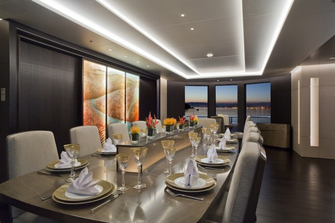 Superyacht MOGAMBO - Formal dining. Photo credit - Bruce Thomas