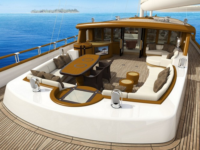 Superyacht ZANZIBA - Alfresco dining in the cockpit