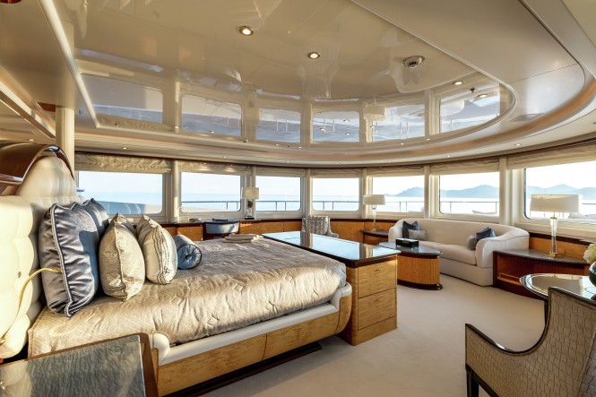 The recently refitted Master suite aboard luxury yacht LUCKY LADY