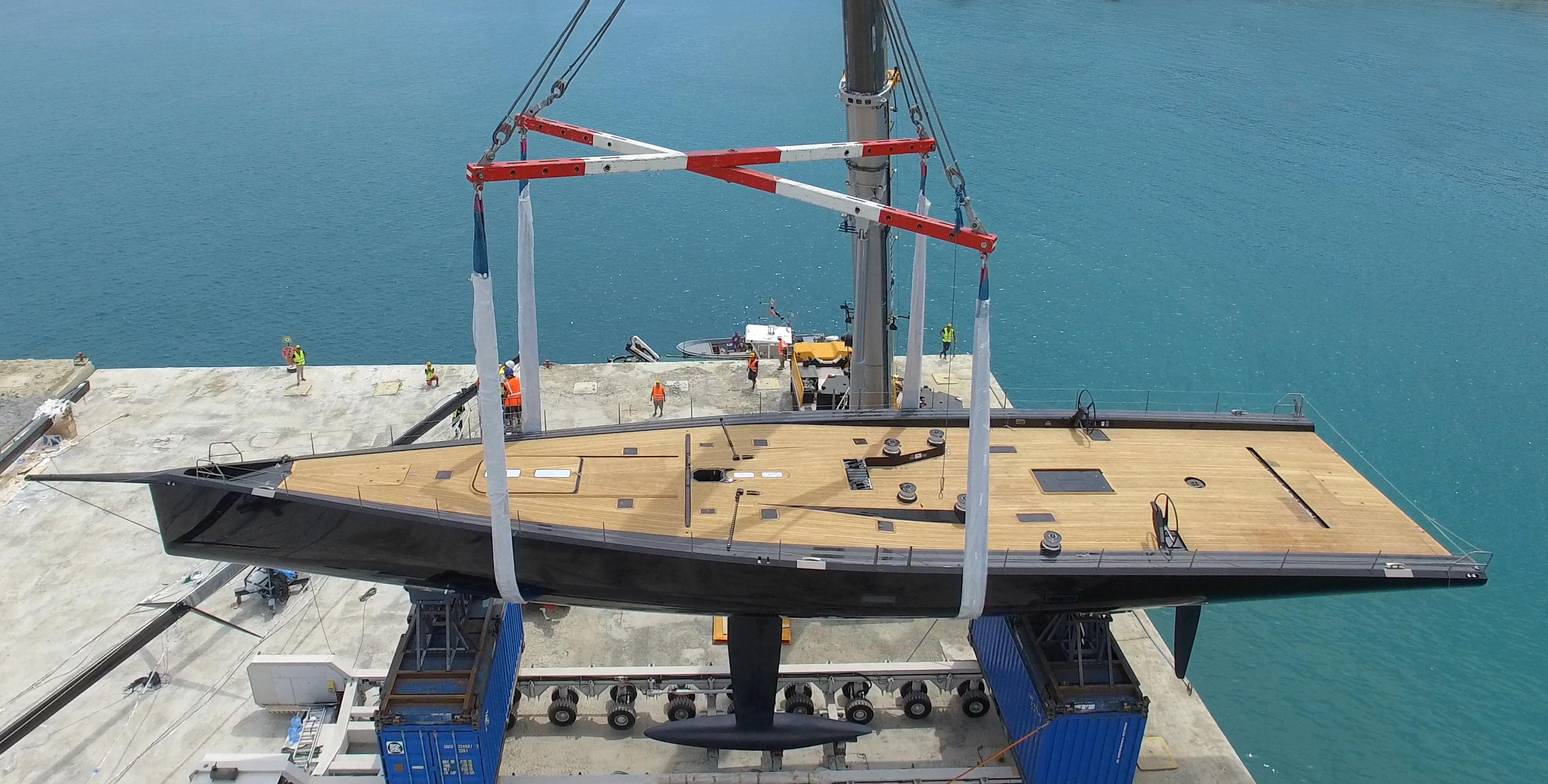 30m/98ft sailing yacht TANGO preparing for launch. Photo credit - Virgilio Fidanza