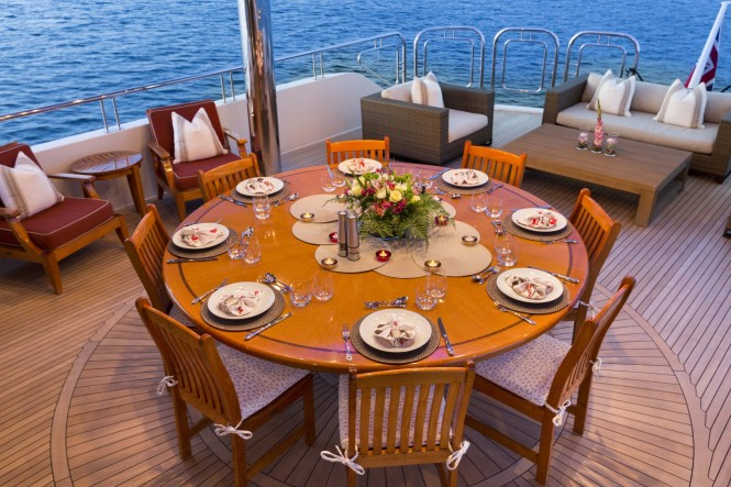 Luxury yacht FAR FROM IT - Alfresco dining and lounging on the upper deck