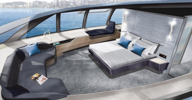 Luxury yacht MC155 - Master suite located on the upper deck