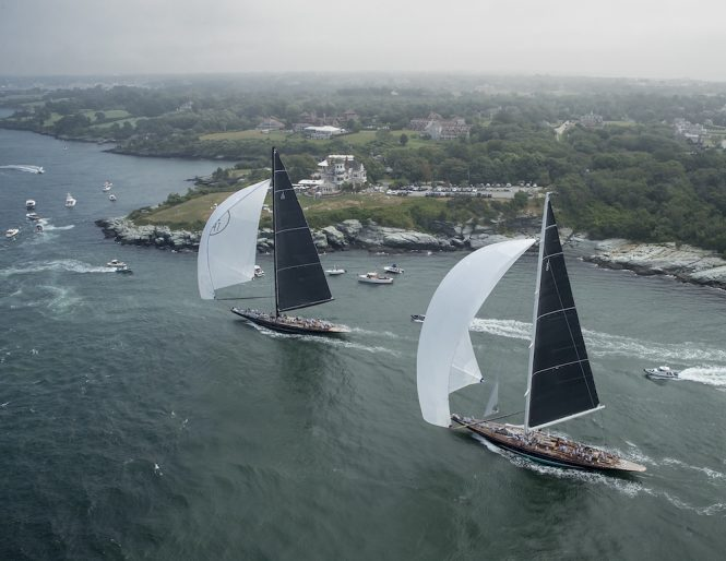 Racing underway at the J Class World Championship, Newport, Rhode Island. Photo credit Onne van der Wal