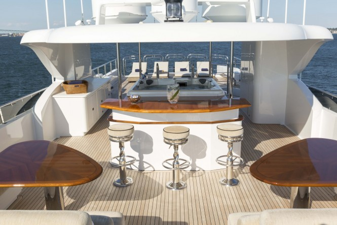 Superyacht FAR FROM IT - Sundeck back, Jacuzzi and sun loungers