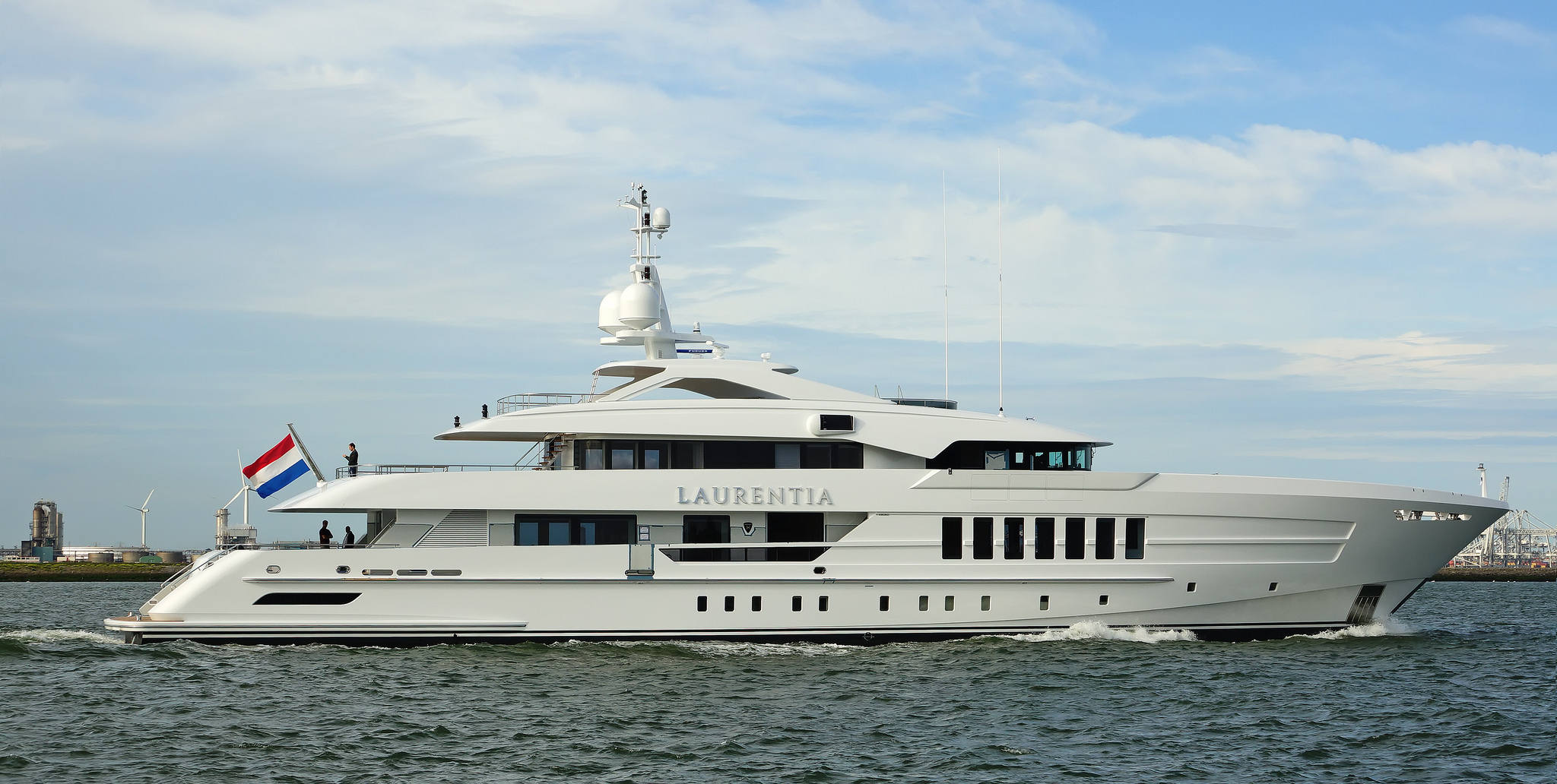 Superyacht LAURENTIA spotted in Holland returning from her sea trials. Image credit - Kees Torn