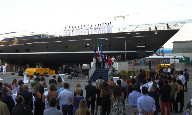 The christening of sailing yacht SEVEN at the Perini Navi shipyard in Viareggio, Italy