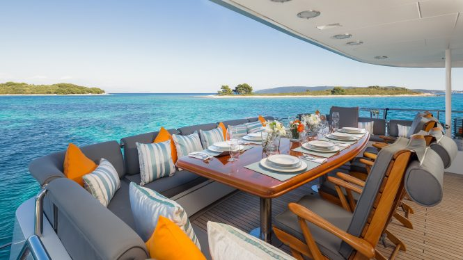 The main deck aft aboard superyacht BRAZIL