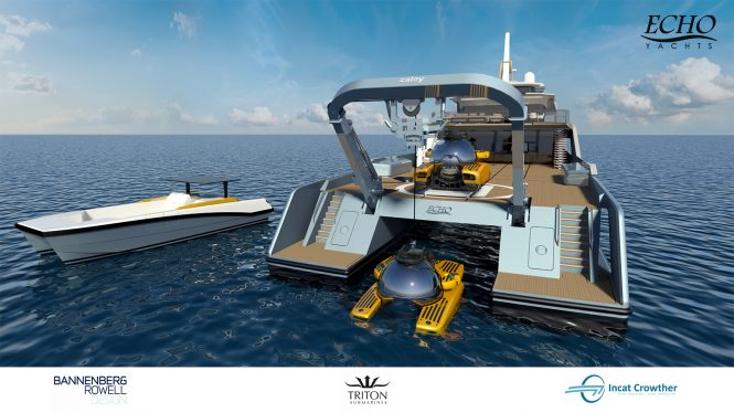 Aft view of PROJECT ECHO from Echo Yachts