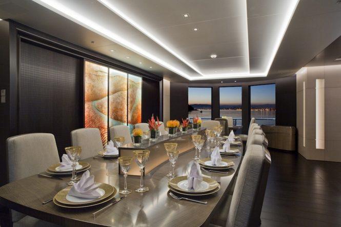 Formal dining aboard luxury yacht MOGAMBO