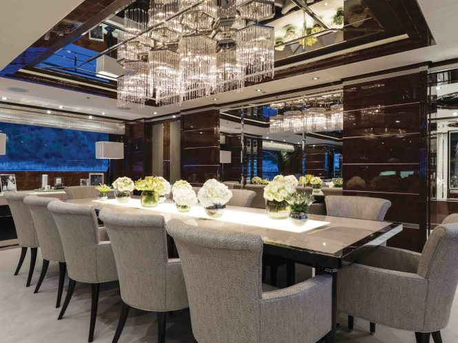 Formal dining aboard superyacht 11.11