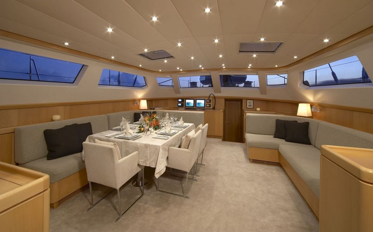 Luxury ketch NEPHELE - Salon and formal dining area