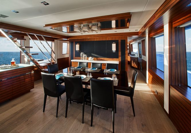 Luxury yacht M90 - Formal dining in the open-plan salon
