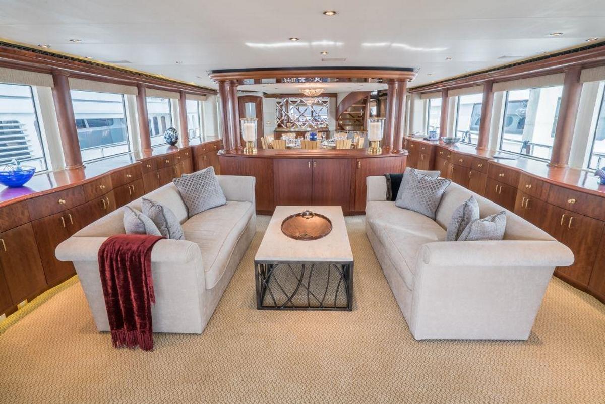Main salon aboard motor yacht NICOLE EVELYN