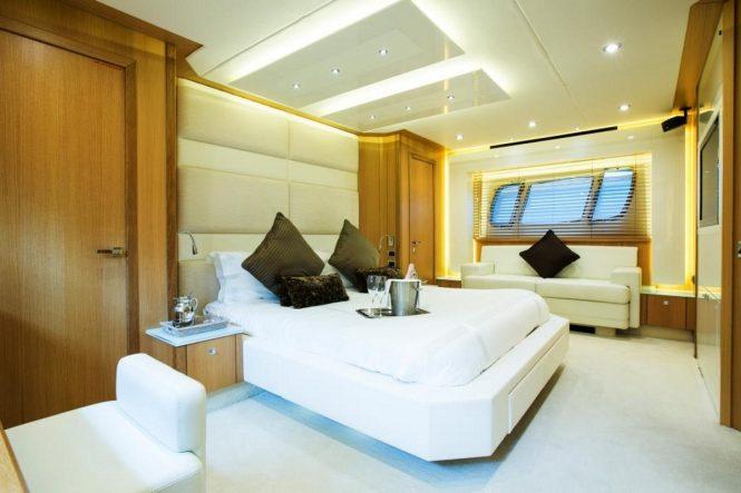 Master suite aboard M/Y FIRECRACKER