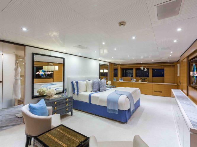 Master suite aboard superyacht MISCHIEF
