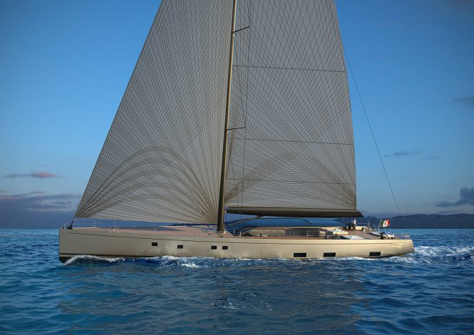One of the early concept images for a future 42m sailing yacht