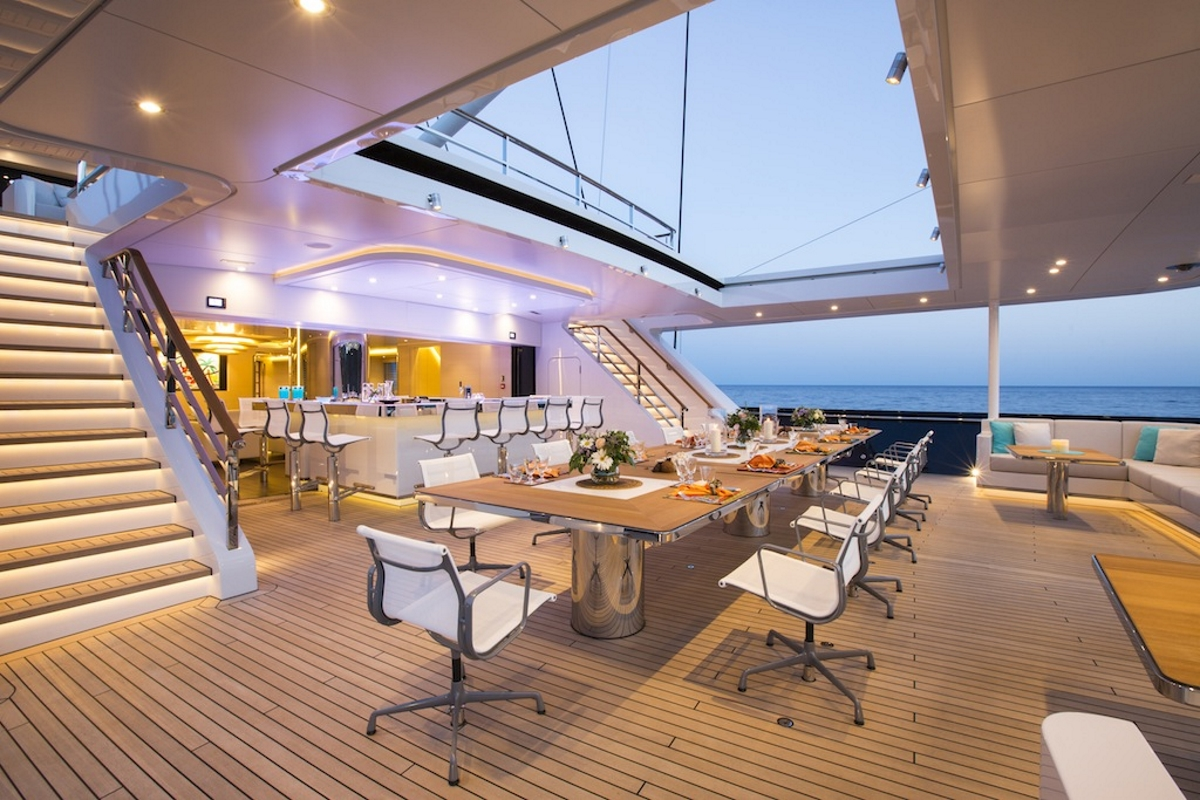 Sailing yacht AQuiJo - Alfresco dining and bar on the main deck. Photo by Stuart Pearce