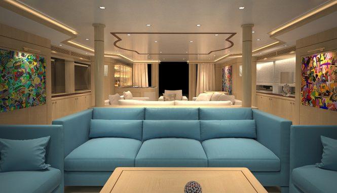Superyacht BLUE VISION - Aft view of salon