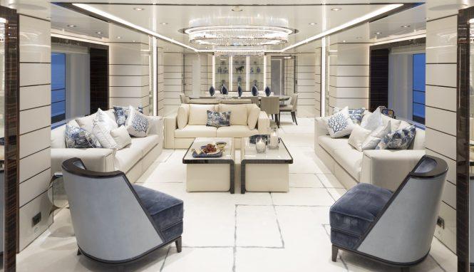 Superyacht RAZAN - Main salon. Photo credit Guillaume Plisson