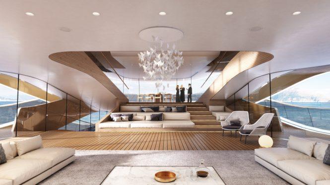 The central lounge aboard mega yacht SE77ANTASETTE