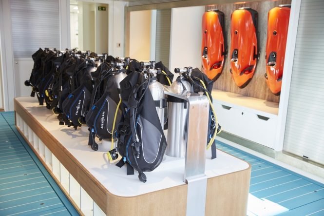 The dedicated dive centre in the aft of MY SAMAYA