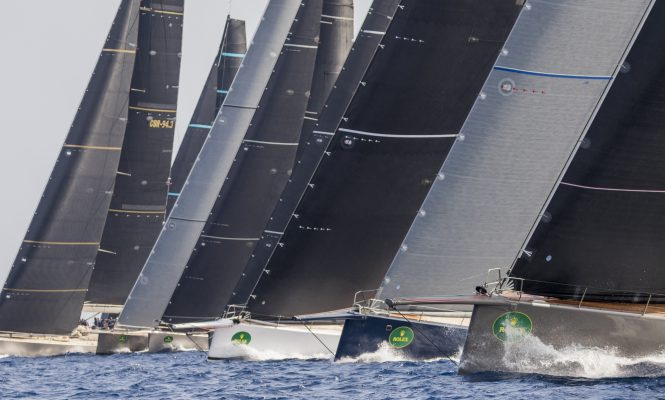 The impressive line starts from some of the world's biggest regatta yachts. Photo credit: ROLEX / Carlo Borlenghi