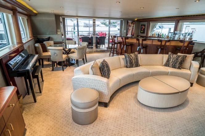 The skylounge aboard luxury yacht NICOLE EVELYN