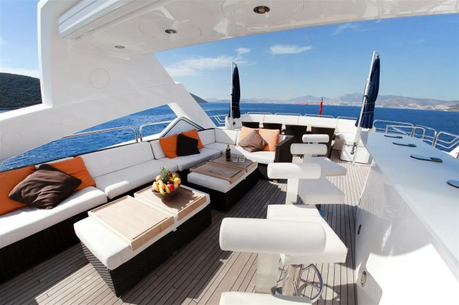 The sundeck bar and lounge aboard motor yacht BARRACUDA RED SEA