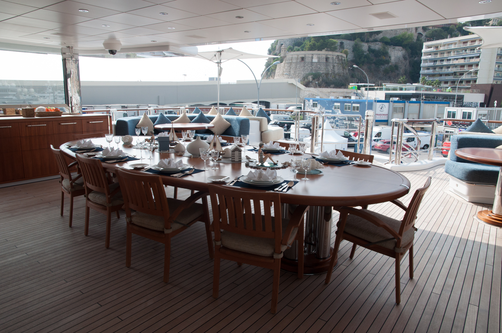 Anastasia at MYS - aft deck alfresco dining area and bar