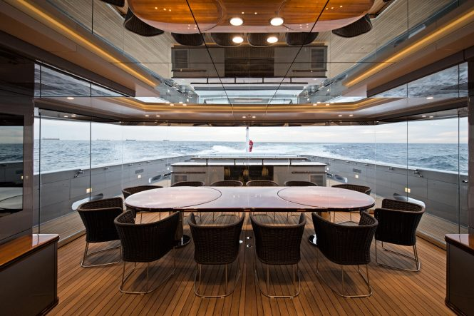 Luxury yacht SILVER FAST - Dining area. Photo credit Silver Yachts