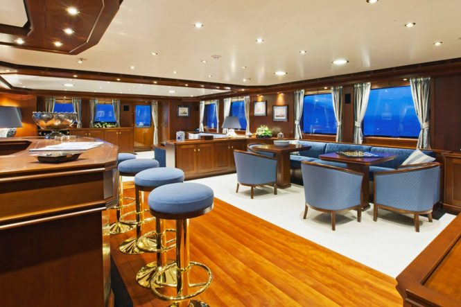 Main salon aboard luxury yacht AXANTHA II