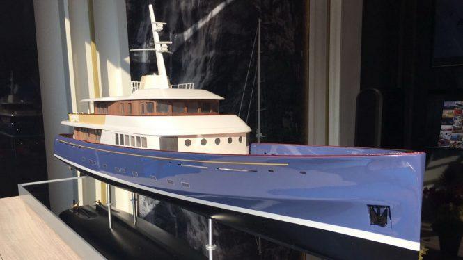 Model of classic superyacht PROJECT MARLIN by Royal Huisman. Image credit Royal Huisman