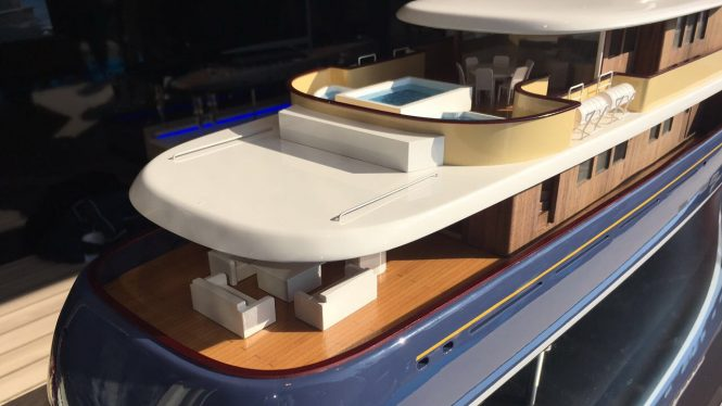 Model of the aft decks of PROJECT MARLIN from the Monaco Yacht Show. Image credit Royal Huisman