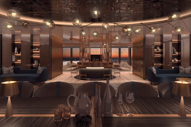 Motor yacht LINEA - Formal dining area and bar leading into the main salon