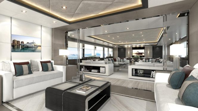 Motor yacht MAJESTY 175 - Interior concept for the main salon
