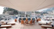 Onceanco yacht ANASTASIA at the MYS upper deck sunbathing area with sunloungers and table