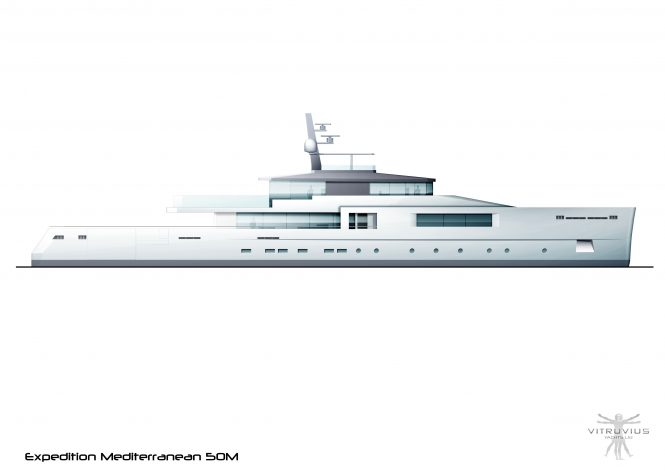 Profile of the 50m explorer yacht concept from Phillippe Briand of Vitruvius Yachts