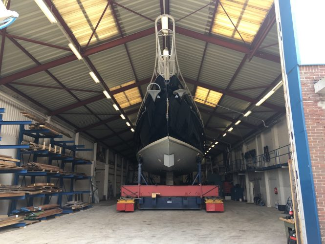 Sailing yacht REESLE entering the refit shed at Claasen Shipyards