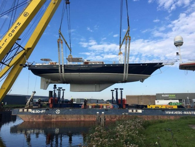 Sailing yacht REESLE preparing for refit at the Claasen Shipyards