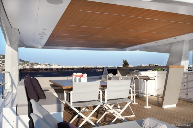Sundeck seating and breakfast bar aboard luxury yacht NARVALO