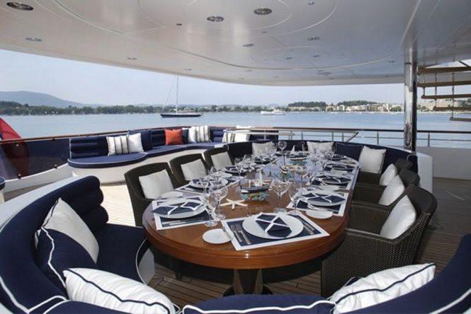 Superyacht SEQUEL P - Upper aft deck dining