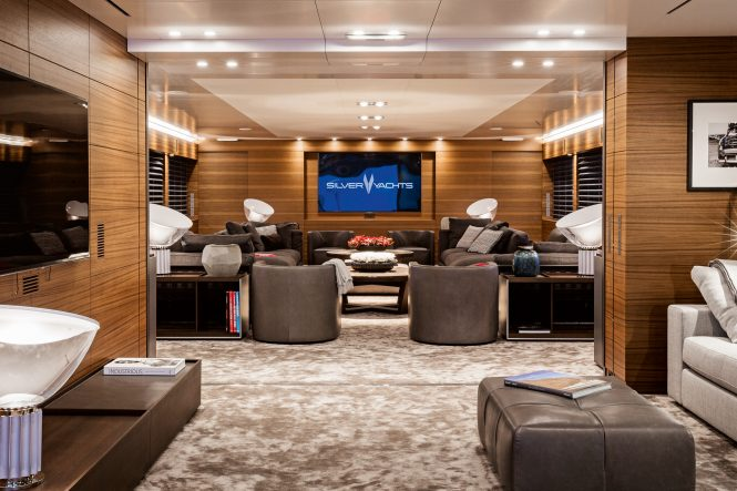 Superyacht SILVER FAST - Main salon and media room. Photo credit Silver Yachts