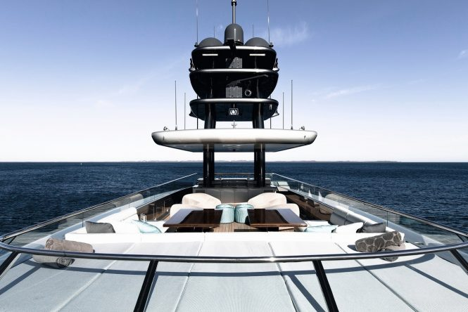 Superyacht SILVER FAST - Sundeck lounge and aft Jacuzzi. Photo credit Silver Yachts