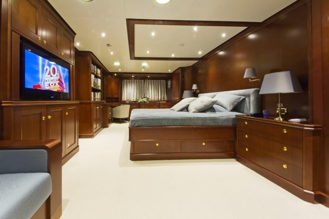 The Master suite aboard luxury yacht AXANTHA II