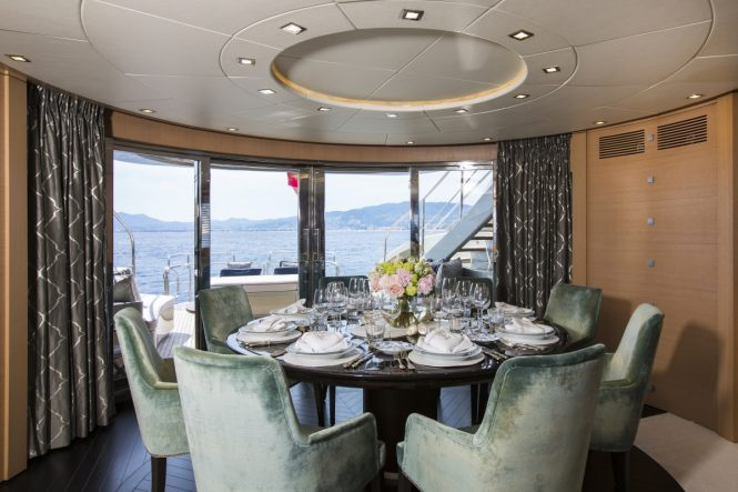 The formal dining area aboard luxury yacht MIDNIGHT SUN